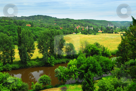Dordogne river in France stock photo, Scenic view on Dordogne river and contryside, Perigord, France by Elena Elisseeva