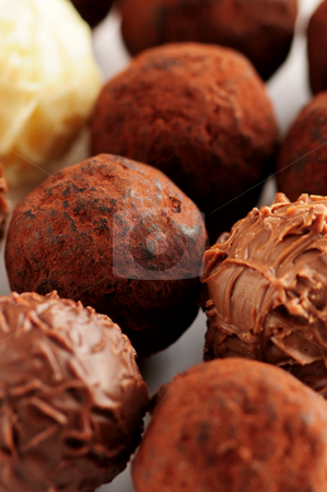 Chocolate truffles stock photo, Several assorted gourmet chocolate truffles close up by Elena Elisseeva