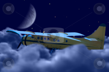 Freedom stock photo, A small plane flying above the clouds at night, symbolizing freedom by Richard Nelson