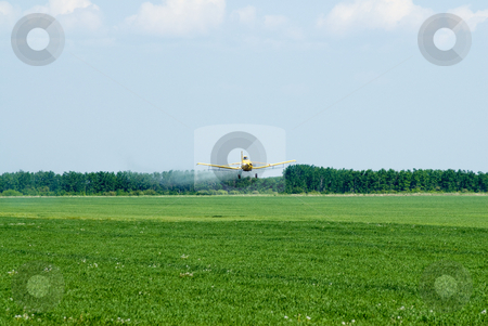 Crop Duster stock photo, A crop duster spraying chemicals on a field by Richard Nelson