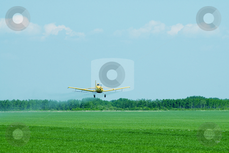 Chemicals stock photo, A crop duster spraying fertilizer and chemicals on a field by Richard Nelson