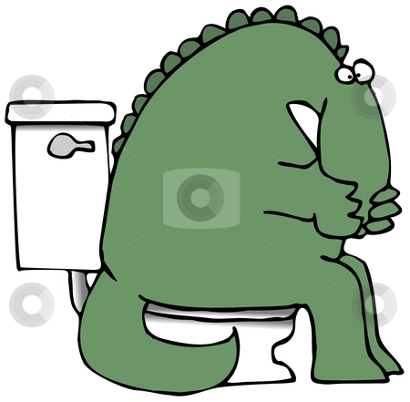 Stinky Dinosaur stock photo, This illustration depicts a dinosaur sitting on a toilet and holding its nose. by Dennis Cox