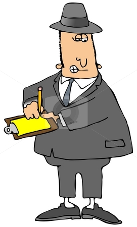 Government Inspector stock photo, This illustration depicts a man in a gray suit writing on a legal pad. by Dennis Cox