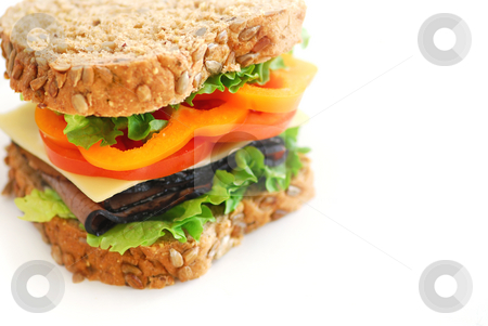 Sandwich stock photo, Big healthy sandwich with vegetables and meat close up by Elena Elisseeva