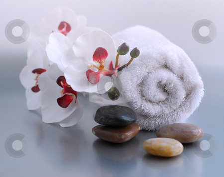 Spa stock photo, White rolled up towel with massage stones and an orchid by Elena Elisseeva