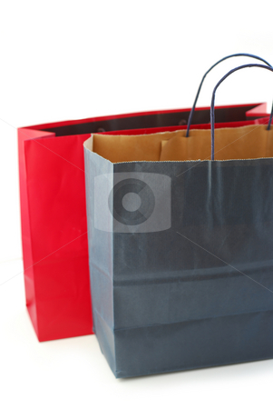 Shopping bags stock photo, Two paper shopping bags isolated on white background by Elena Elisseeva