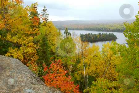Fall scenery stock photo, Scenic view of autumn forest and hills in Algonquin provincial park Ontario Canada by Elena Elisseeva