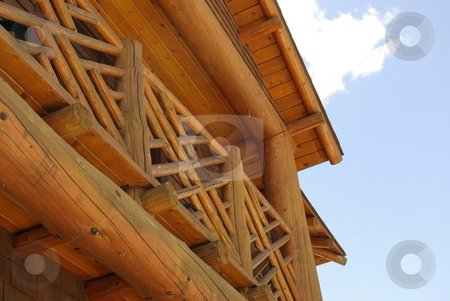Rustic log architecture stock photo, The second floor of a north central Minnesota storefront has a rustic log architecture becoming popular in tourist oriented towns. by Dennis Thomsen