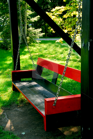 Bench swing stock photo, Bench swings at forest cottage by Elena Elisseeva