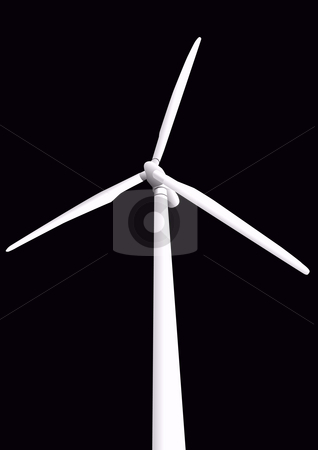 Wind Turbine Illustration stock photo, Wind Turbine illustration on black by John Teeter
