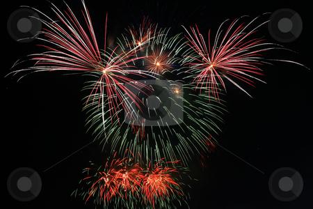 Teddybear fireworks stock photo, Colorful teddybear shaped fireworks against the dark sky by Jonas Marcos San Luis