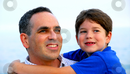 Father son portrait stock photo, Portrait of a father holding his son by Elena Elisseeva