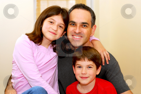 Family portrait stock photo, Portrait of a father with two children by Elena Elisseeva