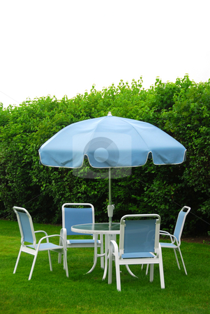 Patio furniture stock photo, Patio furniture on lawn by Elena Elisseeva