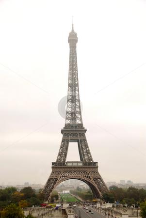 Eiffel tower stock photo, Eiffel tower on a foggy day in Paris France by Elena Elisseeva