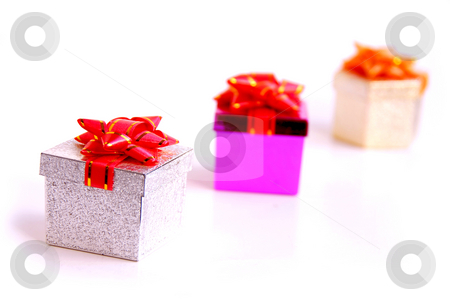Gift boxes stock photo, Gift boxes on white background by Elena Elisseeva