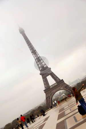Eiffel tower stock photo, Eiffel tower on a foggy day in Paris France by Elena Elisseeva