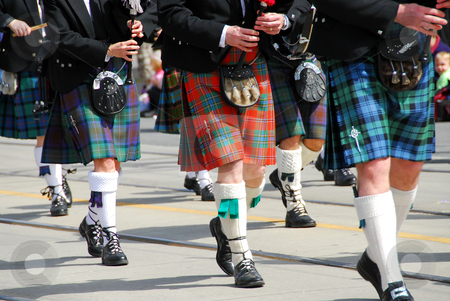 Scottish marching band stock photo, Scottish marching band at city parade by Elena Elisseeva