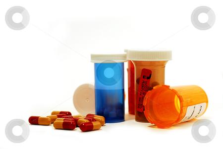 Pills drugs white stock photo, Pills and vials on white background by Elena Elisseeva