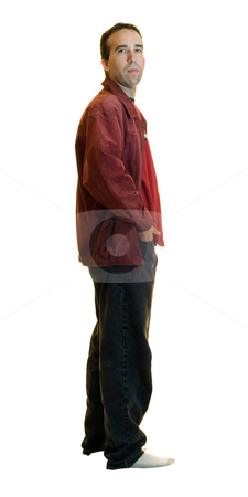 Male Fashion stock photo, Full body view of a young male wearing a red leather jacket and black jeans, isolated on a white background by Richard Nelson