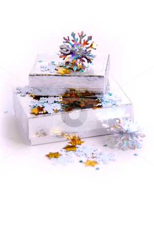 Christmas boxes stock photo, Christmas gift boxes on white background by Elena Elisseeva