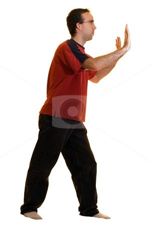 Man Pushing Your Text stock photo, A young man wearing casual clothes and glasses, pushing against anything you put there by Richard Nelson