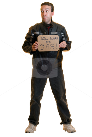 Beggar stock photo, A young male beggar holding a sign, isolated on a white background by Richard Nelson
