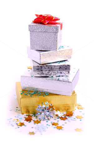 Christmas boxes stock photo, Gift boxes on white background by Elena Elisseeva