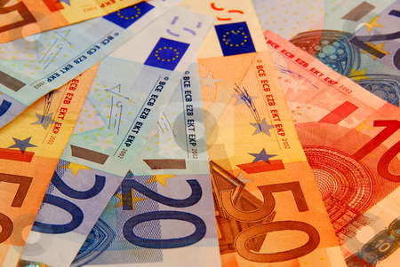 Euro background stock photo, Background of european union currency paper bills by Elena Elisseeva