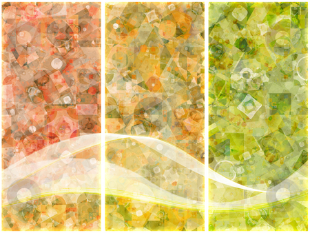 Bits triptych stock photo, Colorful triptych with bits and pieces of geometric shapes. by Barbara Din