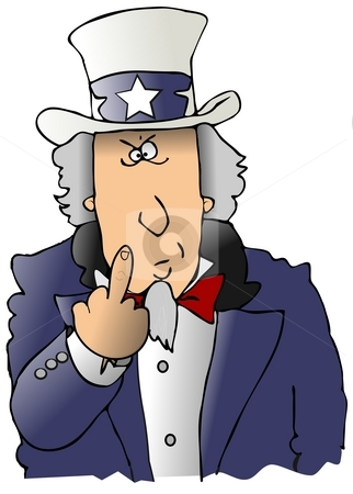 Uncle Sam Flipping The Bird stock photo, This illustration depicts Uncle Sam flipping the finger. by Dennis Cox