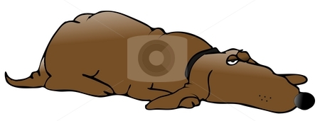 Lazy Dog stock photo, This illustration depicts a lazy dog with one eye partially open. by Dennis Cox