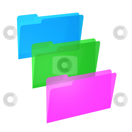 Three File Folders stock photo, Three file folders in vivid colors blue, green and pink on white background. by ngirl