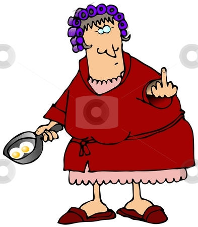Angry Housewife stock photo, This illustration depicts a woman in curlers and a robe flipping the bird while holding a frying pan with two eggs. by Dennis Cox