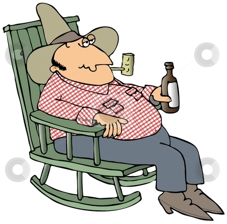 Hillbilly In A Chair stock photo, This illustration depicts a man sitting in a rocking chair and holding a bottle of beer. by Dennis Cox