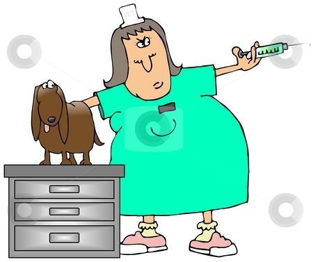 Vet Tech stock photo, This illustration depicts a veterinary technician about to give an injection to an apprehensive dog. by Dennis Cox