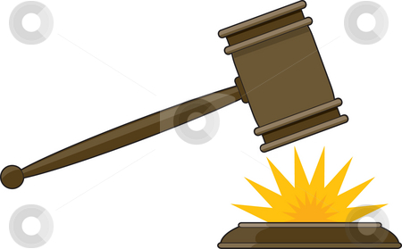 Judge's Gavel stock photo, Judge's gavel striking it's base with a yellow impact star by Maria Bell