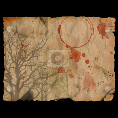 Ancient burned paper with tree - digital illustration stock photo, Ancient burned paper with tree - digital illustration by Marko Vesel