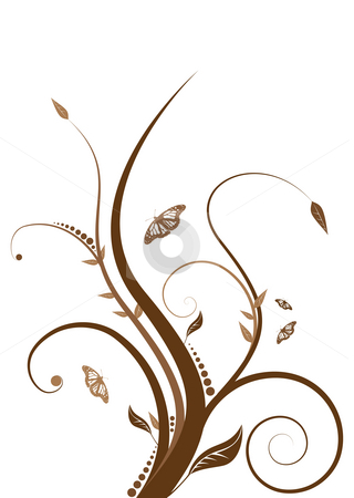 Floral brown stock photo, Abstract floral design with flowing line in shades of brown by Michael Travers