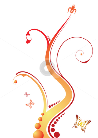 Floral orange stock photo, Abstract floral design with flowing line in orange and red by Michael Travers