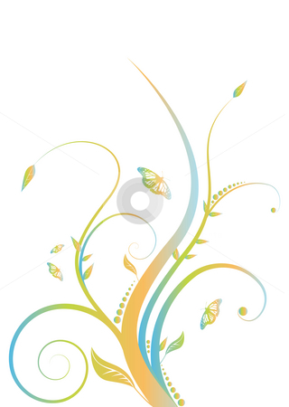 Floral rainbow stock photo, Abstract floral design with flowing line in subtle rainbow colors by Michael Travers