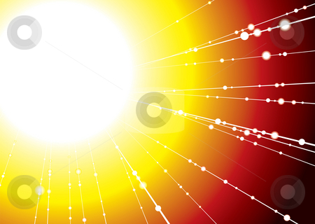 Sun ray stock photo, Abstract illustrated sun image with rays of light shooting out by Michael Travers