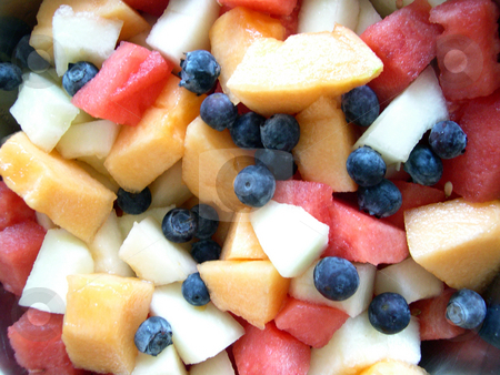 Blueberries and melons stock photo, A bowl of fruit including watermelon, cantaloupe, canary melon, and blueberries by Rob Wright
