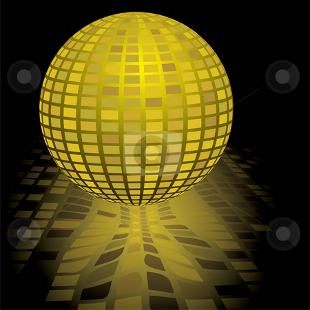 Disco ball gold stock photo, Illustration of a gold disco ball with a reflection in black by Michael Travers