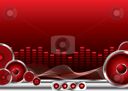 Music sound stock photo, Abstract music background in red and black with copy space by Michael Travers
