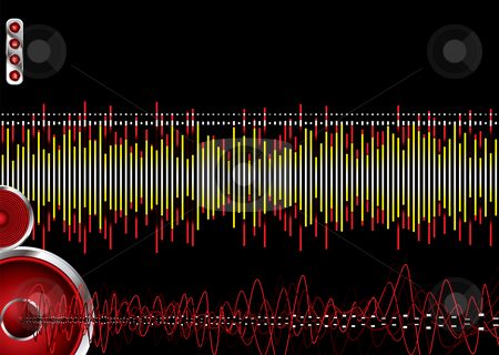 Music burn stock photo, Audio abstract background with an illustrated graphic equaliser by Michael Travers