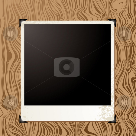 Picture wood stock photo, Blank image placeholder on a wood grain background by Michael Travers
