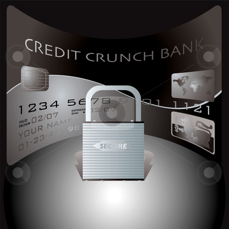 Credit card lock stock photo, Credit card and padlock showing the financial dangers of spending by Michael Travers