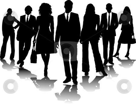 Business people stock photo, 7 office people in black and white in a arrow formation by Michael Travers