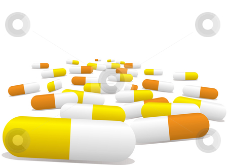 Pills stock photo, Illustrated pills selection in yellow and orange with a sense of perspective by Michael Travers